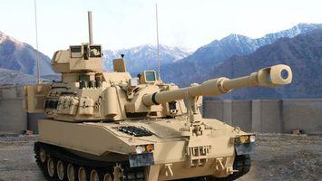 Фото бесплатно танк, песочный, ствол