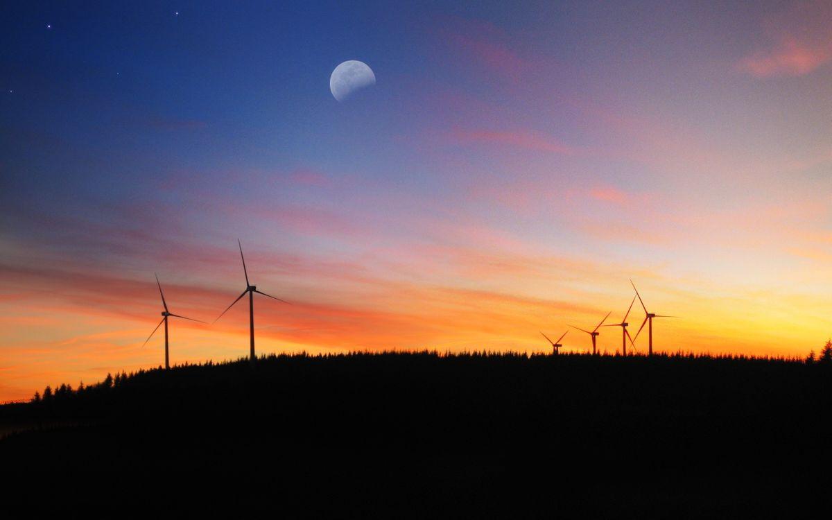 Фото бесплатно вечер, закат, ветряки - на рабочий стол