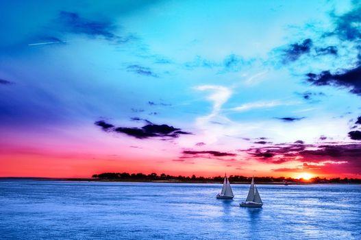 Фото бесплатно закат, море, парусники