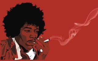 Обои человек, негр, прическа, волосы, усы, кольцо, фон, красный, сигарета, абстракции, разное