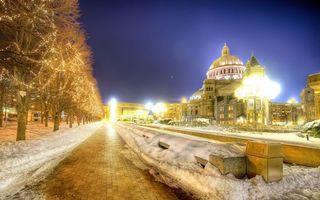 Бесплатные фото деревья,зима,снег,свет,здания,красиво,город
