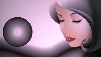 Бесплатные фото девушка,лицо,волосы,полуоборот,прикрытые,глаза,рисунок
