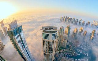 Бесплатные фото дома,высотки,небоскребы,туман,облака,высотка,река