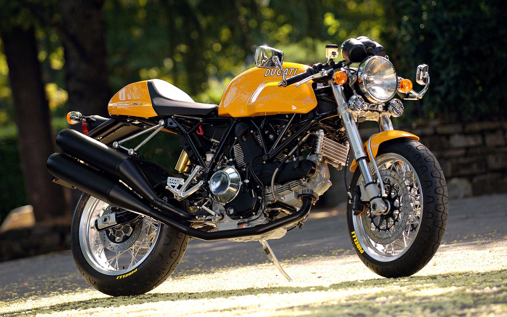 жёлтый ducati sport-1000, мотоцикл, байк