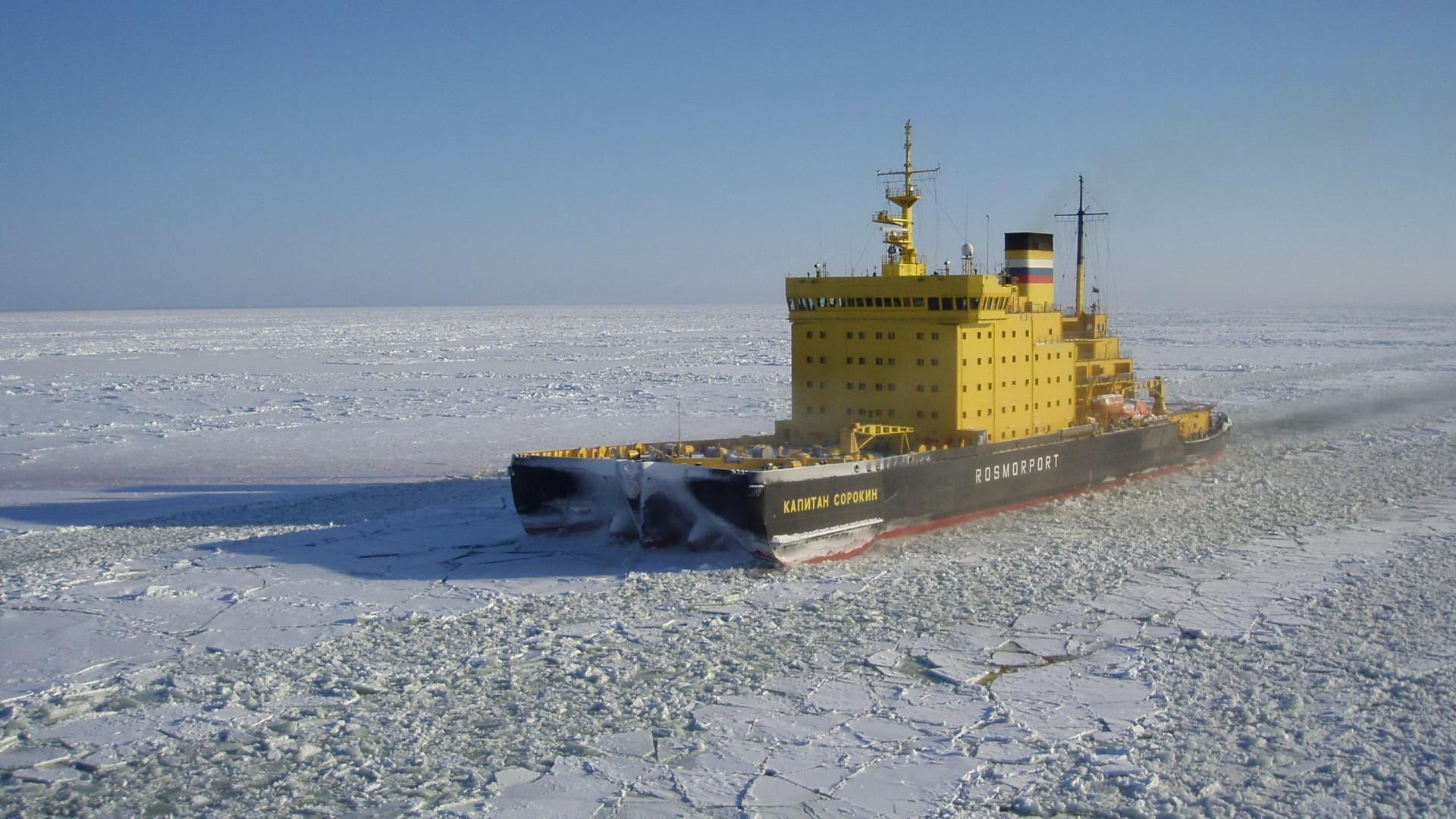 корабль, море, лед