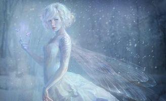 Бесплатные фото крылья,снег,фея,девушка,когти,тату,фэнтези