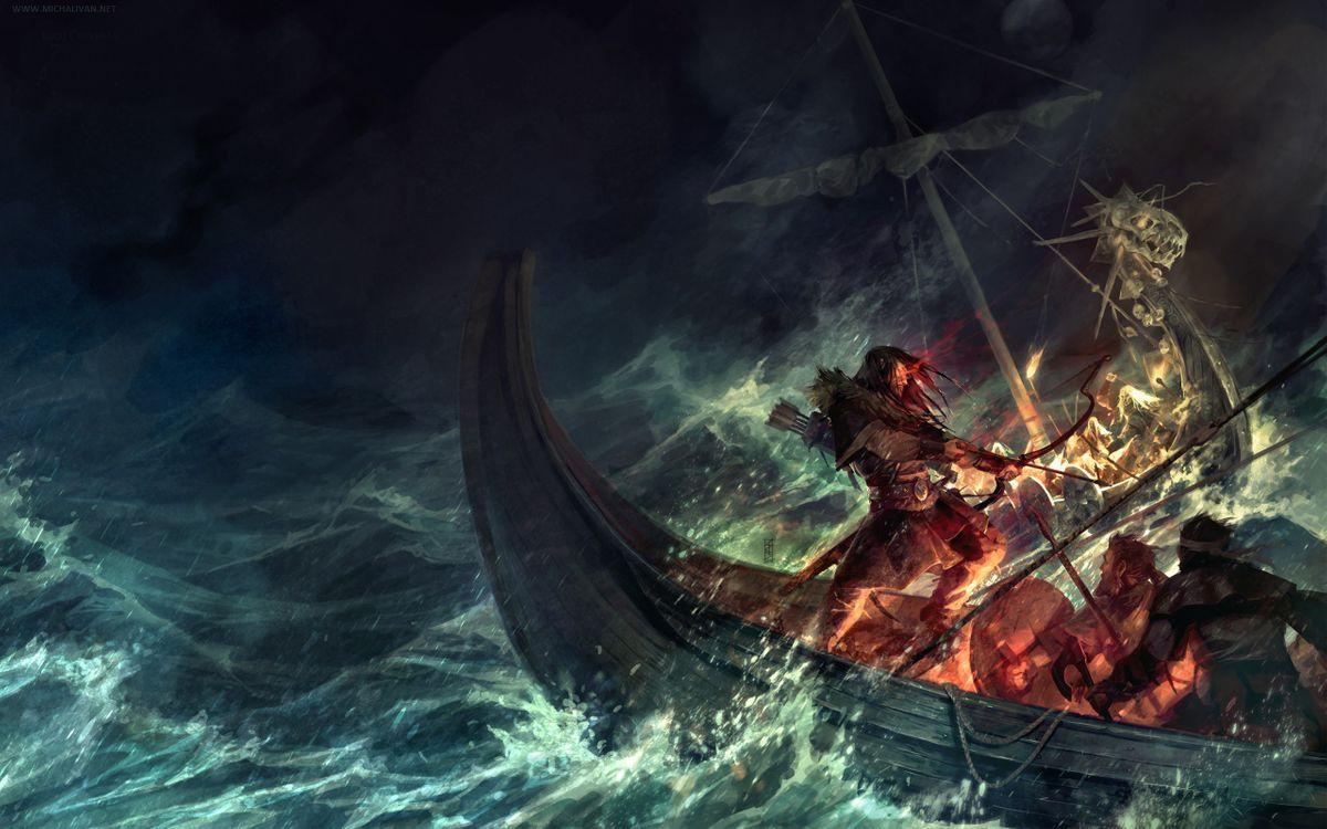 Фото бесплатно лодка, море, океан, вода, волны, брызги, лук, огонь, люди, мультфильмы, мультфильмы