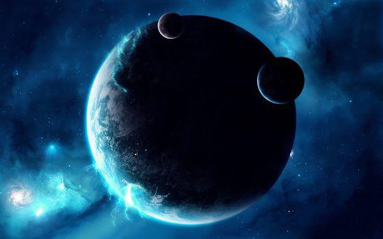 Заставки магнитное свечение планеты, два спутника, космические корабли