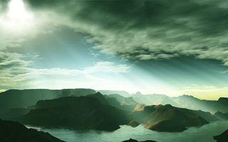 Бесплатные фото море,горы,небо,облака,солнце,лучи,природа