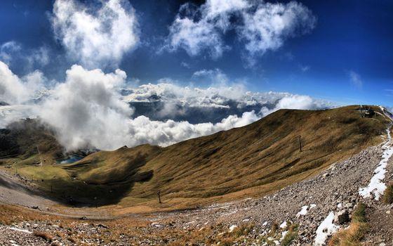 Бесплатные фото небо,тучи,горы,облака,склон,трава,высота,природа