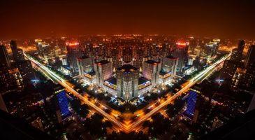 Бесплатные фото ночной город, небоскребы, огни, свет, окна, дорога, улицы