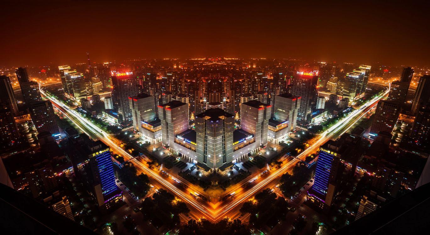 Фото бесплатно ночной город, небоскребы, огни - на рабочий стол
