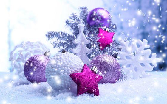 Фото бесплатно новогодние игрушки, снежинка, мишура