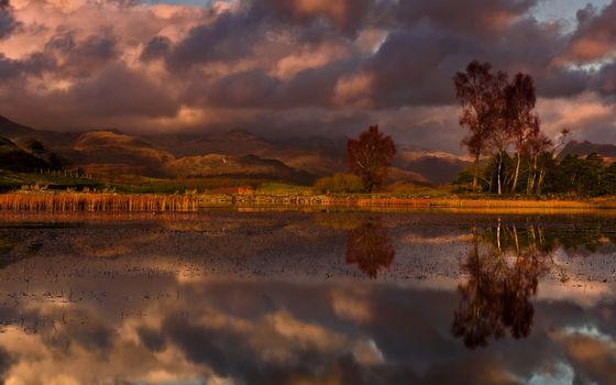 Бесплатные фото осень,озеро,трава,папоротник,горы,забор,небо,тучи,вечер,пейзажи