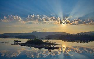 Заставки озеро, островки, летний