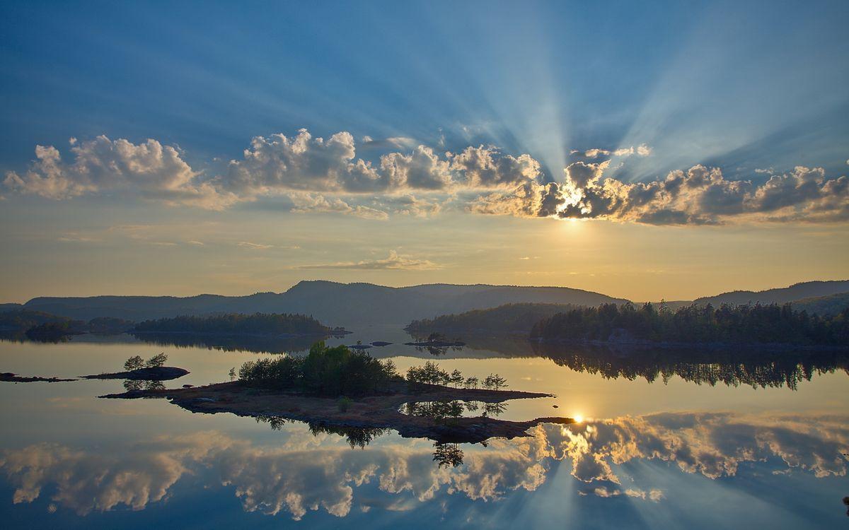 Фото бесплатно озеро, островки, летний - на рабочий стол