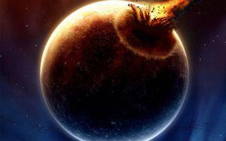 Обои планета, взрыв, ярко, волна, звезды, огонь, космос