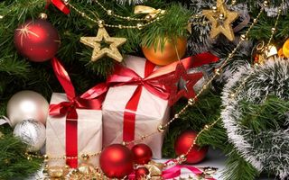 Бесплатные фото подарки,шарики,бусы,звезды,украшение,ветки,новый год