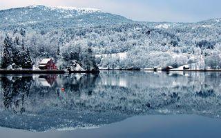 Заставки река,вода,лес,снег,горы,дом,отражение