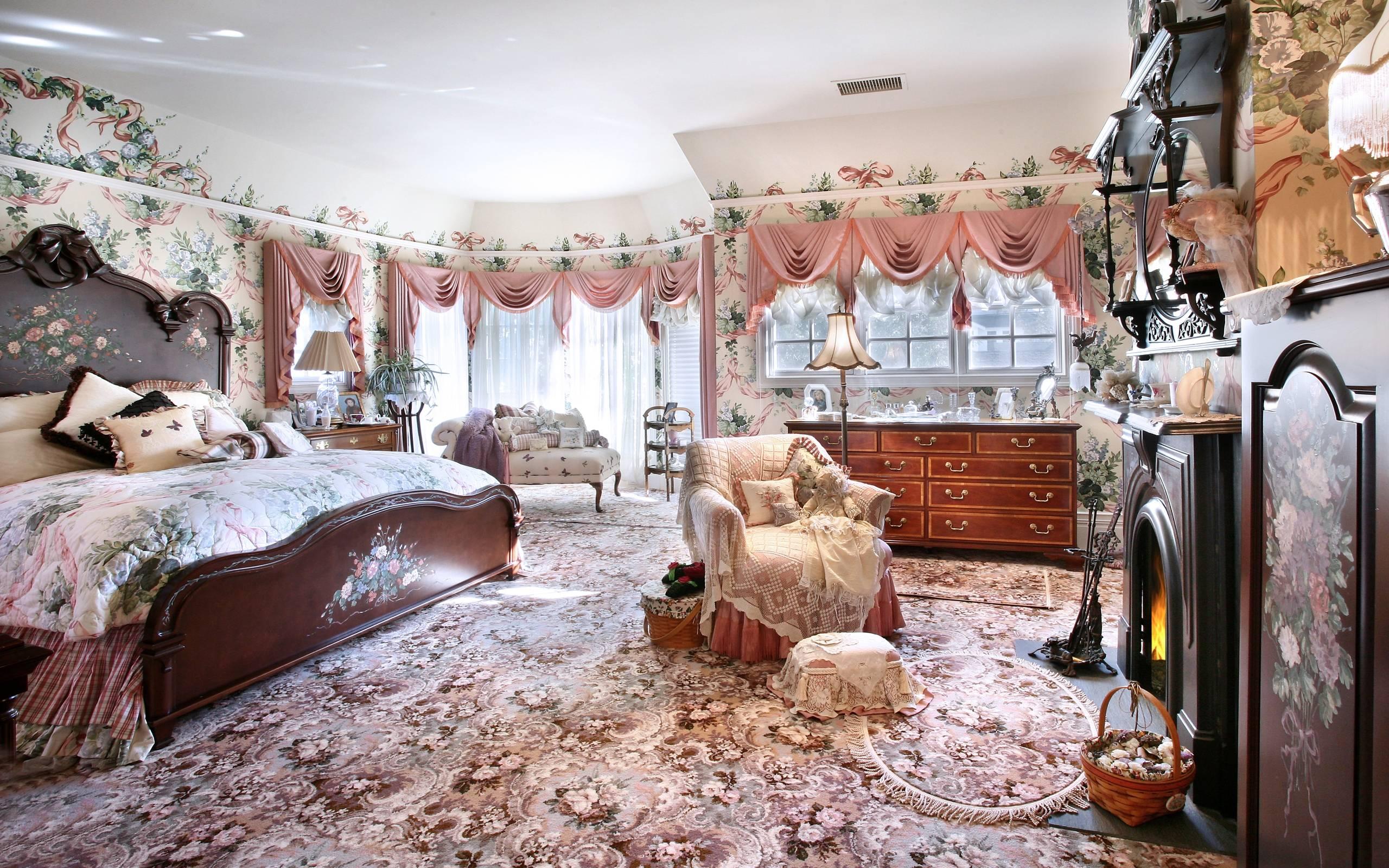 Обои шикарная спальня, кровать, мебель, камин