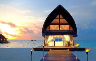 Фото бесплатно закат, Мальдивы, пейзаж