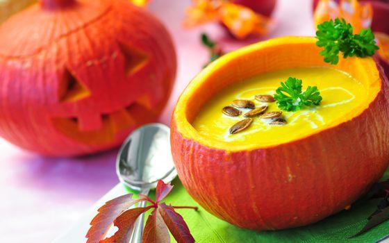 тыква, хэллуин, листья, осень, праздник
