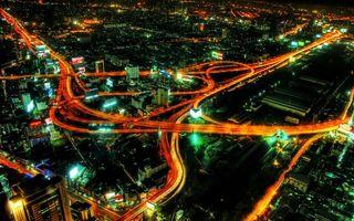 Заставки улица, вид, высота, огни, свет, вечер, ночь, лето, дома, дороги, эстакада, вывески