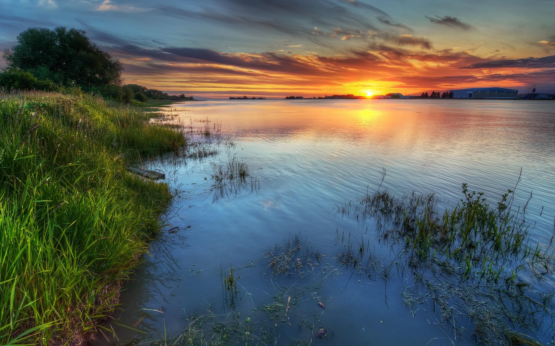 рассвет на озере загрузить