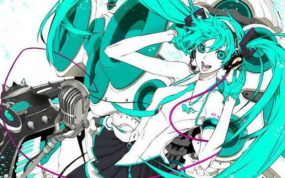 Бесплатные фото аниме,девушки,музыка,вокалоид,настроения
