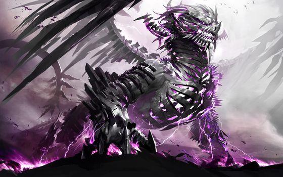 Заставки dragon, дракон-скелет, фэнтези