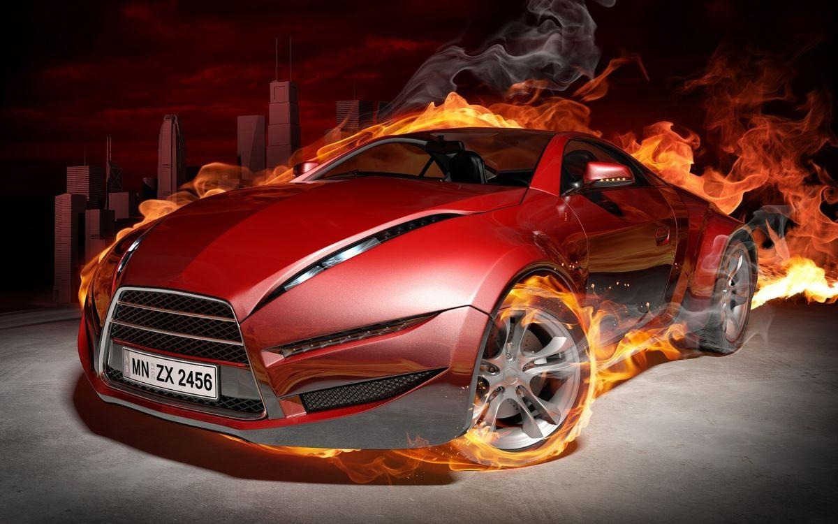 Фото бесплатно авто, машина, красная, огонь, пламя, колеса, 3d графика, 3d графика