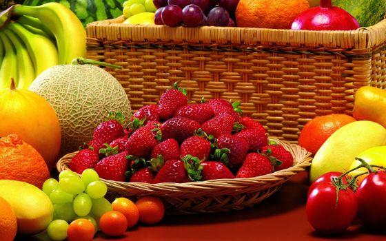 фрукты, овощи, клубника, ягоды, помидоры
