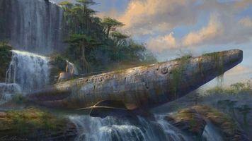Бесплатные фото корабль,деревья,небо,облака,тучи,вода,водопад
