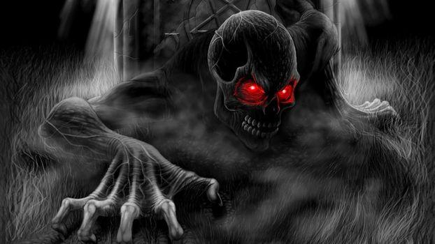 Бесплатные фото monstr,череп,глаза,красные,мрак,разное