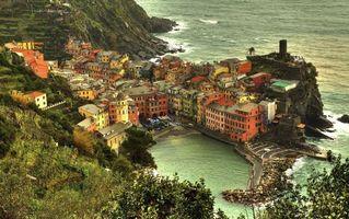 Бесплатные фото море,вода,горы,дома,скалы,деревья,город