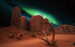 Обои ночь, пустыня, галактика, фантастика