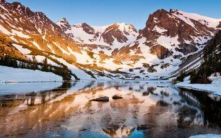 Фото бесплатно озеро, горы, снег