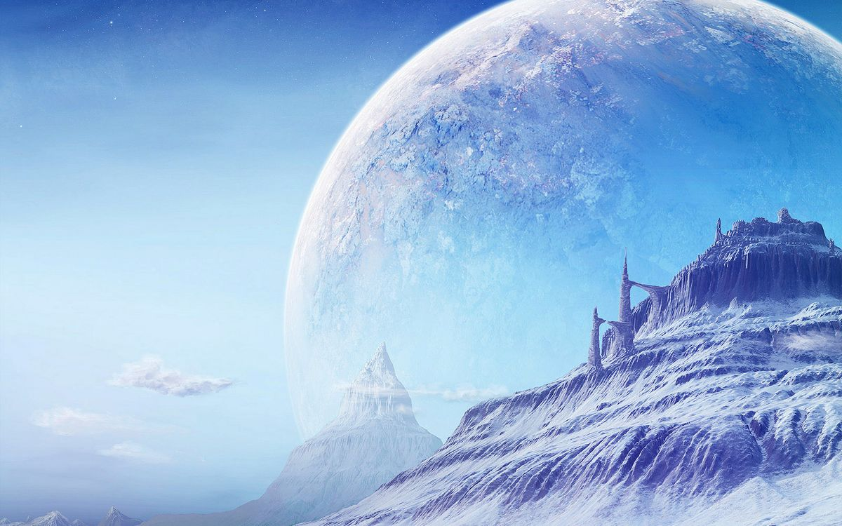 Фото бесплатно планета, замок, снег, лед, облака, необычно, абстракции, абстракции