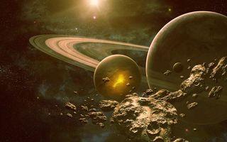 Фото бесплатно планета, спутники, луны, кольца, метеориты, солнце, звезда, фантастика, космос