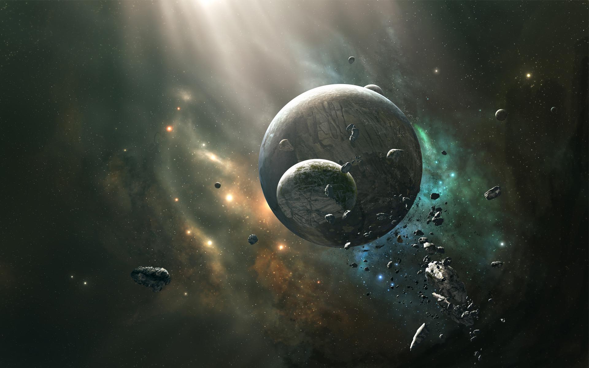 раскол спутника планеты, астероиды, метеориты