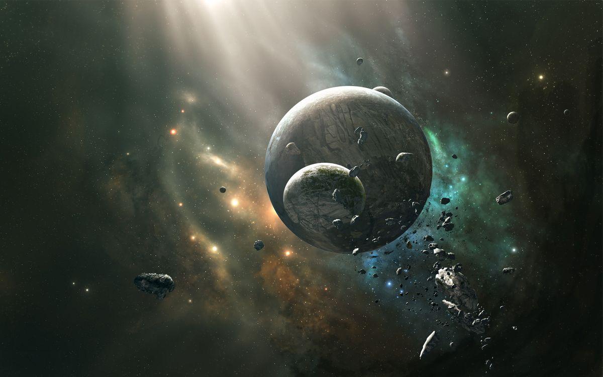 Фото бесплатно раскол спутника планеты, астероиды, метеориты - на рабочий стол