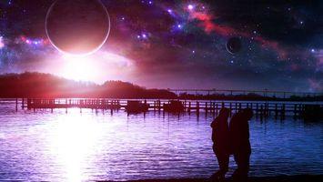 Заставки мост, свет, планеты