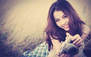 Фото бесплатно шатенка, азиатка, глаза