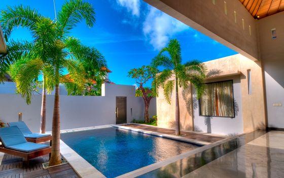 Фото бесплатно шезлонги, бассейн, вода
