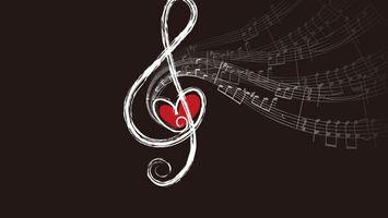 Фото бесплатно скрипичный ключ, музыка, сердце
