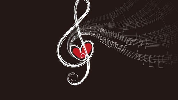 Бесплатные фото скрипичный ключ,музыка,сердце,ноты,мелодия,контраст,музыка