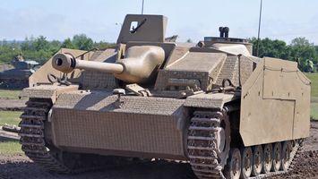 Фото бесплатно stug 3, танк, ствол, гусеницы, антенна, деревья, небо, оружие