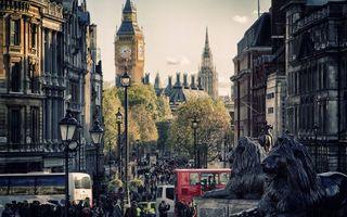 Бесплатные фото Лондон,дома,здания,Биг-Бен,статуи львы,улица,фонари