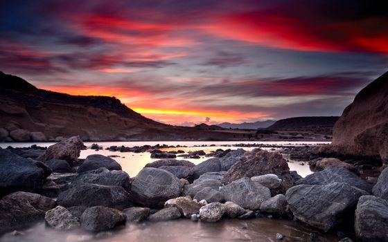 Фото бесплатно валуны, небо, закат