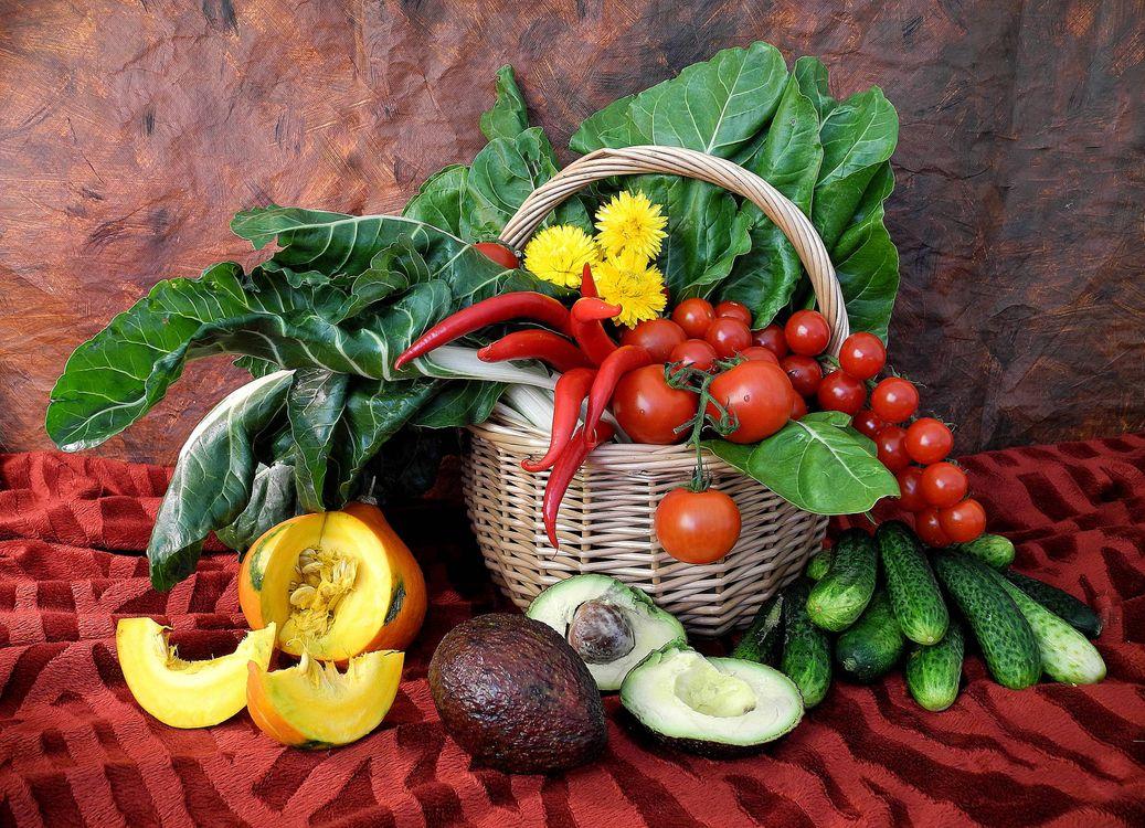 Фото бесплатно корзина, овощи, натюрморт - на рабочий стол